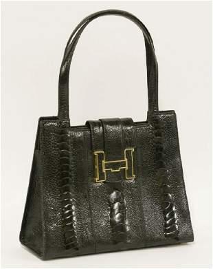 A Lorenzi black ostrichleg leather handbag