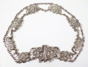 1: A ladies sterling silver Art Nouveau belt, possibly