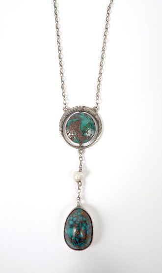 3: A German Arts & Crafts Edna May style turquoise pend