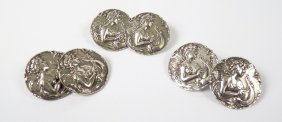 4: A set of six sterling silver Art Nouveau buttons, a