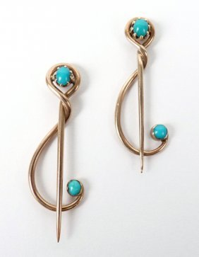 Two Gold And Turquoise Set Brooch Pins By Murrle Ben