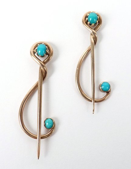 5: Two gold and turquoise set brooch pins by Murrle Ben