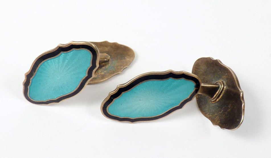 6: A pair of Norwegian silver gilt and enamel cufflinks