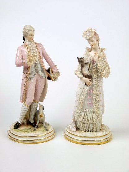 A pair of Meissen Figures, c.1890, of a gallant with hi