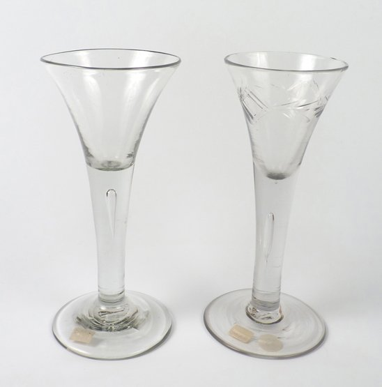 Two Wine Glasses,  c.1750, one with trumpet-shaped bowl