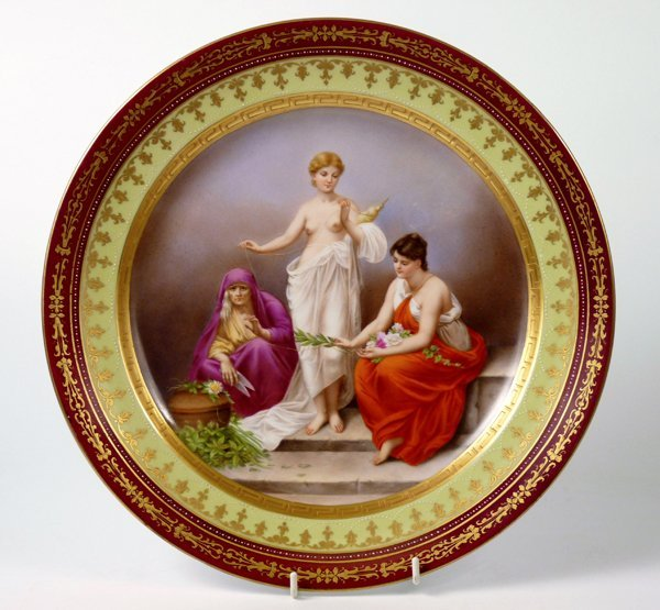 A Vienna porcelain Dish, c.1875, painted with 'The Parz