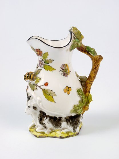 A Chelsea-style goat and bee porcelain Jug, typically m