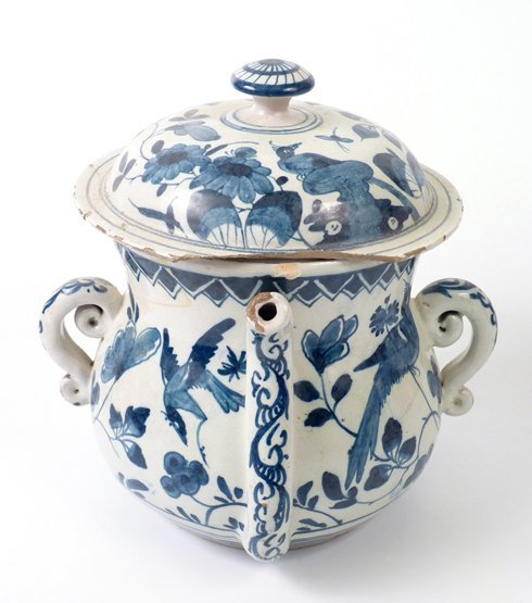 An English Delft blue and white Posset Pot and Cover, c