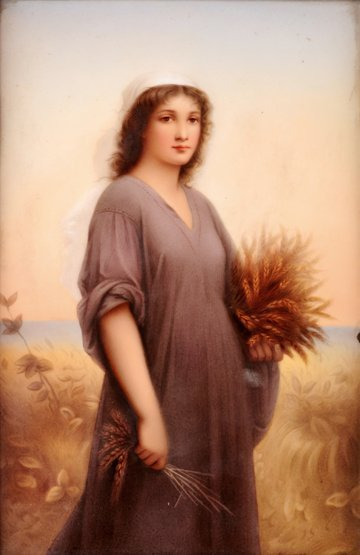 A Berlin (K.P.M) porcelain Plaque, c.1890, 'Ruth in the