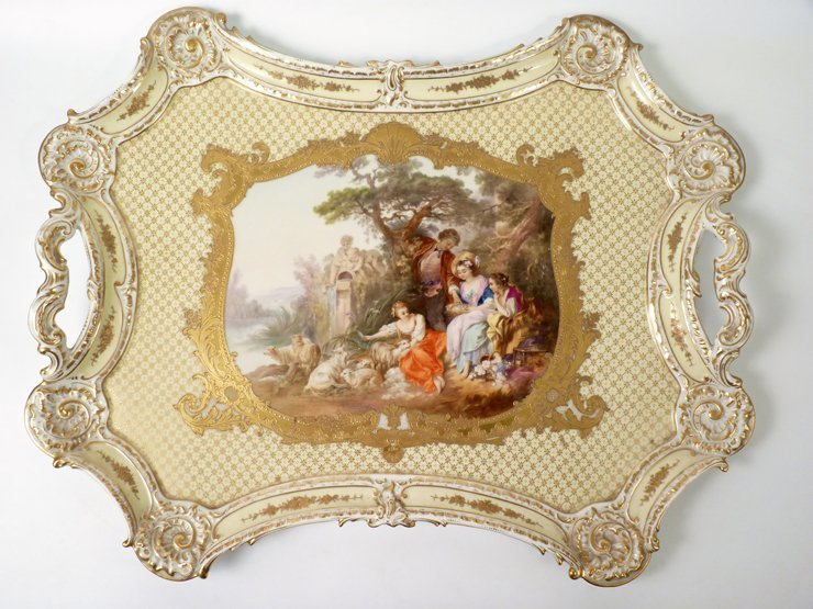 A large French rococo-style porcelain two-handled Tray,