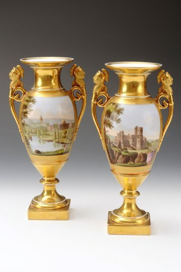 A pair of German porcelain twin-handled Vases, possibly