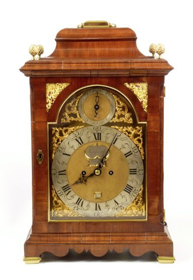 A George III mahogany bracket clock, the arch brass dia