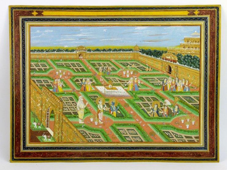 Krishna and Balarama with Radha in a palace garden with