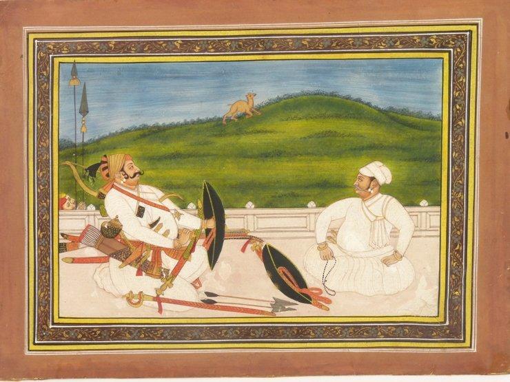 Rajasthani School (mid-late 19th century), NOBLEMEN ON