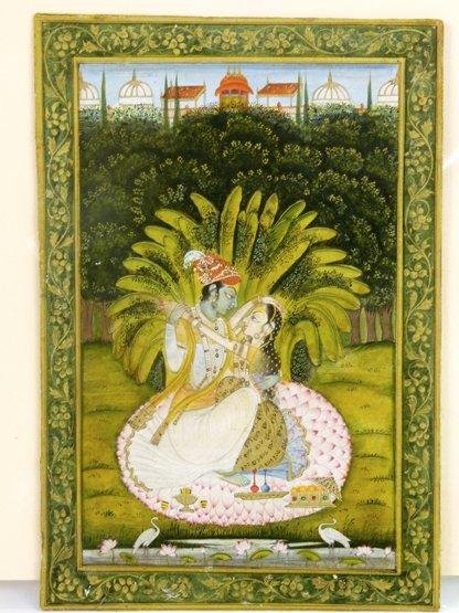 Late Kishangarh (c.1850), KRISHNA AND RADHA IN A GARDEN