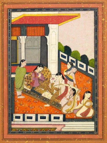 Punjab School (mid 19th century), WOMEN ON TERRACE Goua