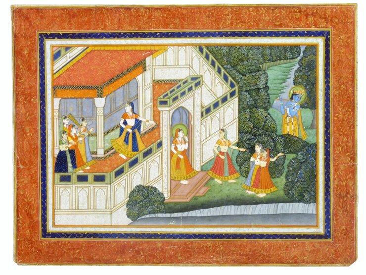 Rajastani School (late 19th century), KRISHNA PLAYING H