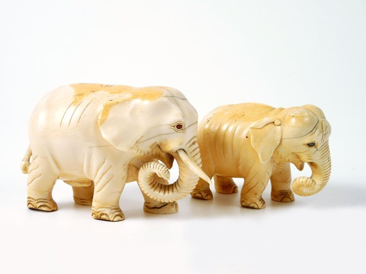 Two Indian ivory Elephants, late 19th century, each str