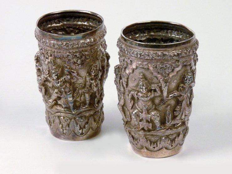 A good pair of Burmese silver Beakers, last quarter 19t