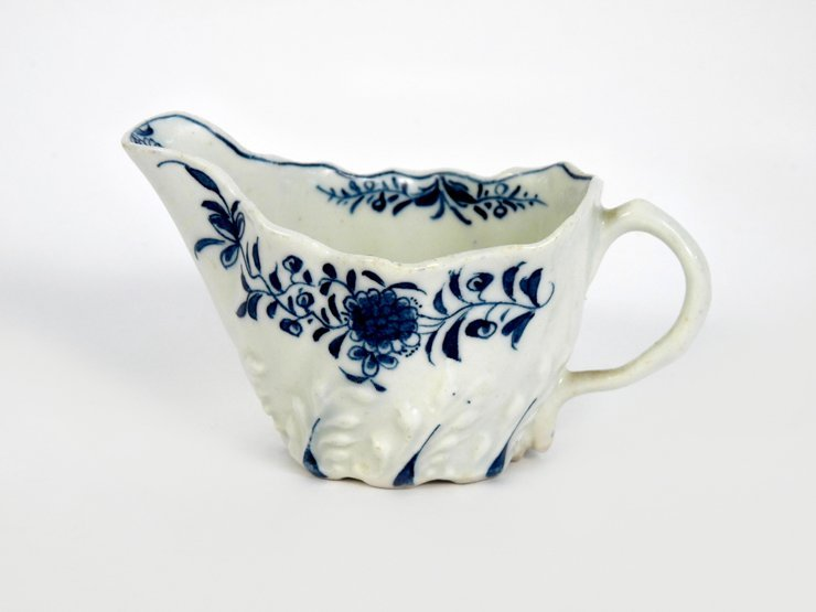 A Derby blue and white Butter Boat, moulded with wheat