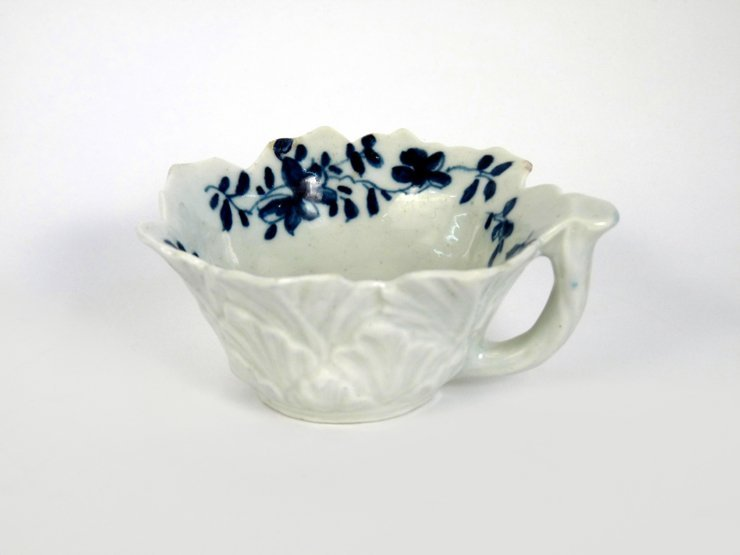 A Worcester blue and white Butter Boat, c.1760, painted