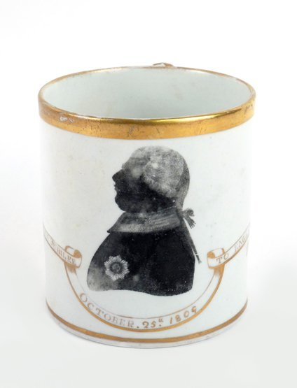 A Coalport porcelain Tankard, October 25th 1809, transf