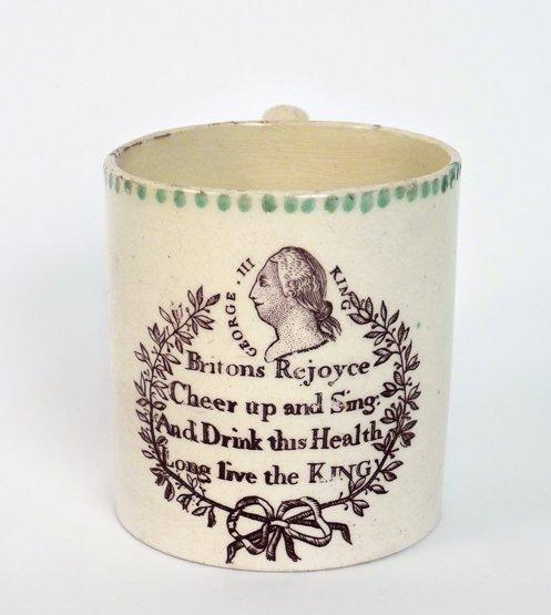 A small creamware Mug, c.1789, of cylindrical form, pri
