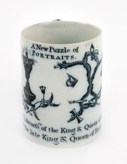 A rare Cambrian pearlware Mug, c.1790, of cylindrical f