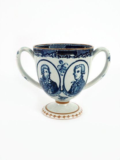 A good pearlware Loving Cup, c.1793, the ovoid body pri