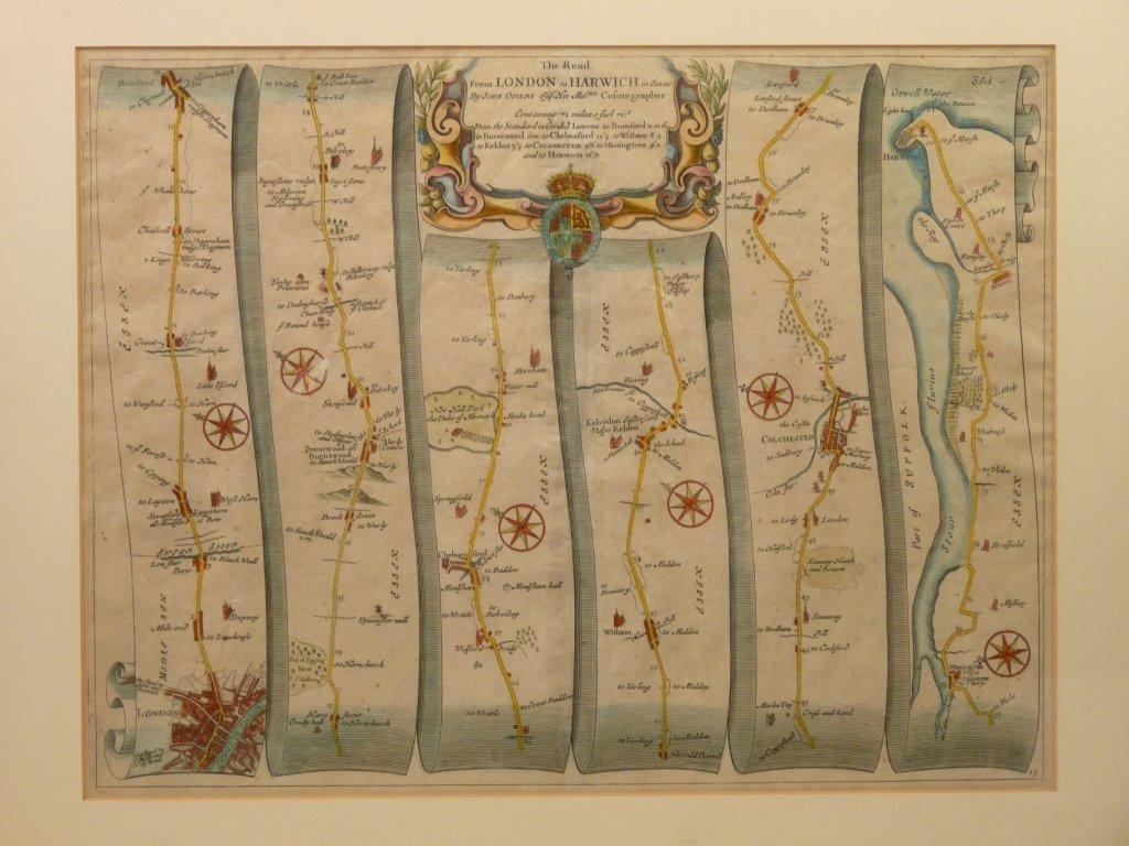 John Ogilvy, FOUR LINEAR ROAD MAPS, London to Harwich,