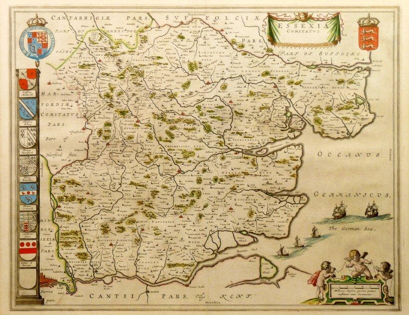 Guihelmus Blaeu, ESSEXIA COMITATUS, hand coloured engra