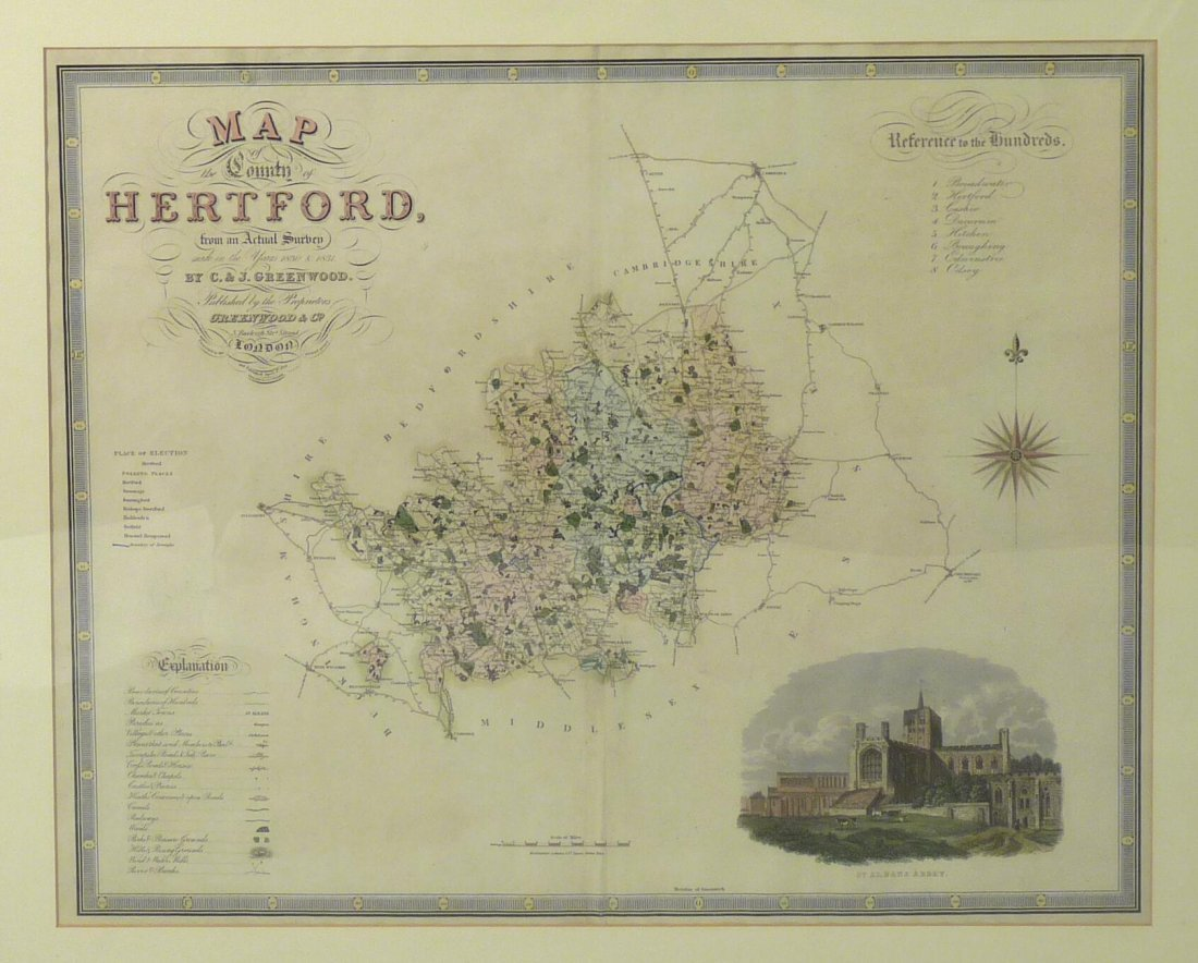 Greenwood (C & J), Map of the County of Hertford,  made
