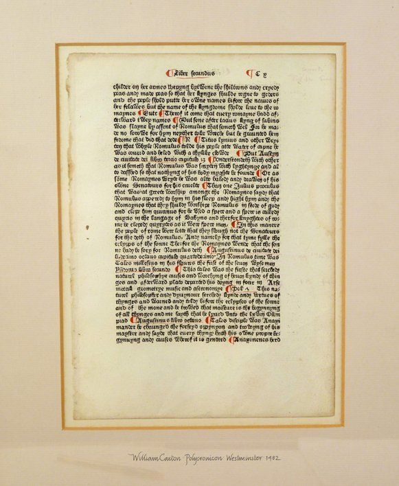 INCUNABLE:- CAXTON, WILLIAM: An Original Leaf from the