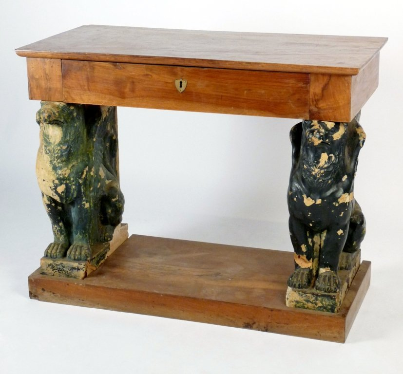 A mahogany console table, the plain rectangular top wit