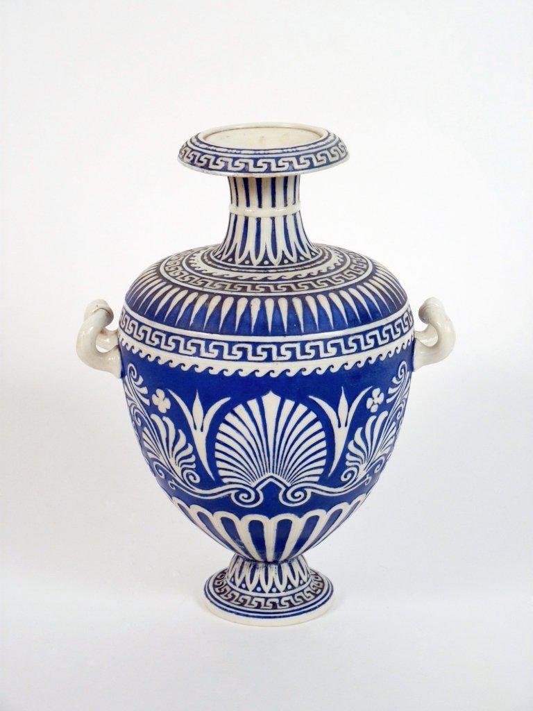 A Copeland porcelain vase, c.1850, of ovoid shape havin