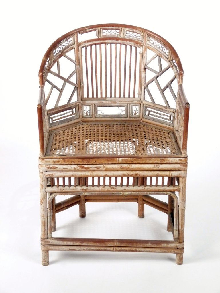 A Chinese bamboo and rattan 'Brighton Pavilion' elbow c