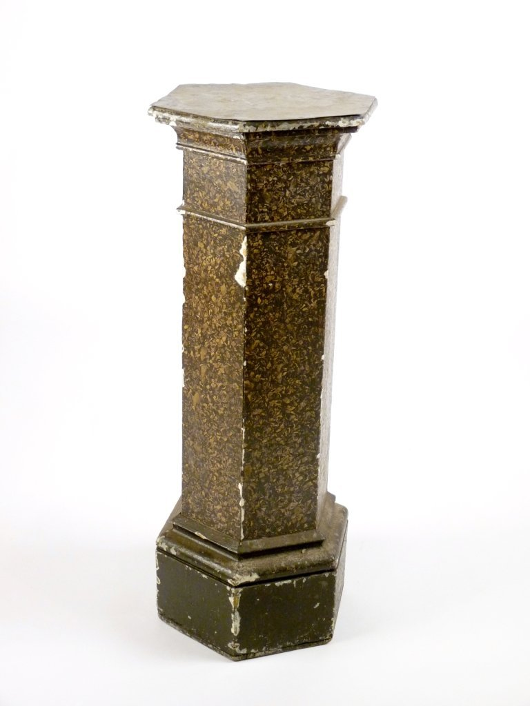 A simulated marble hexagonal column, mid 19th century,