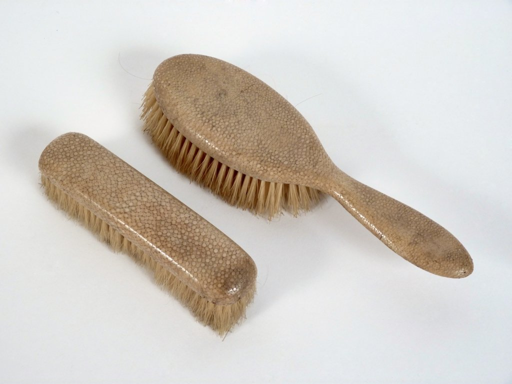 A shagreen mounted hairbrush and clothes brush, early 2