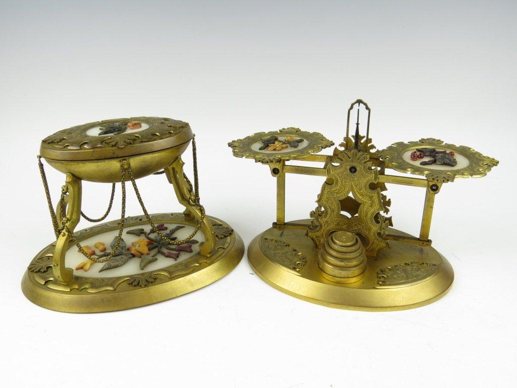 Sampson Mordan & Co.,  a rare set of gilt metal postal