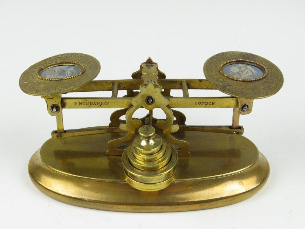 Sampson Mordan & Co.,  a rare gilt brass postal scale,
