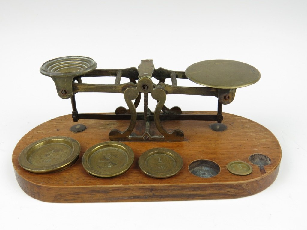 Joseph & Edmund Ratcliff,  a set of brass postal scales