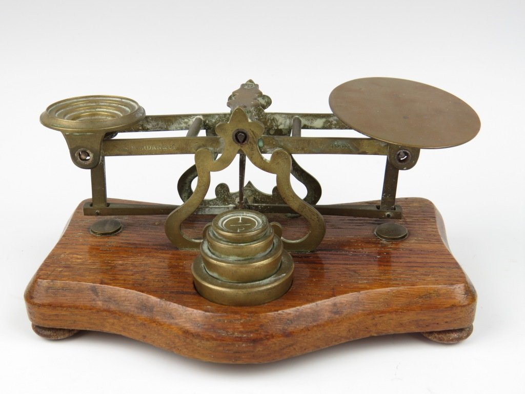 Sampson Mordan & Co., a set of brass postal scales and
