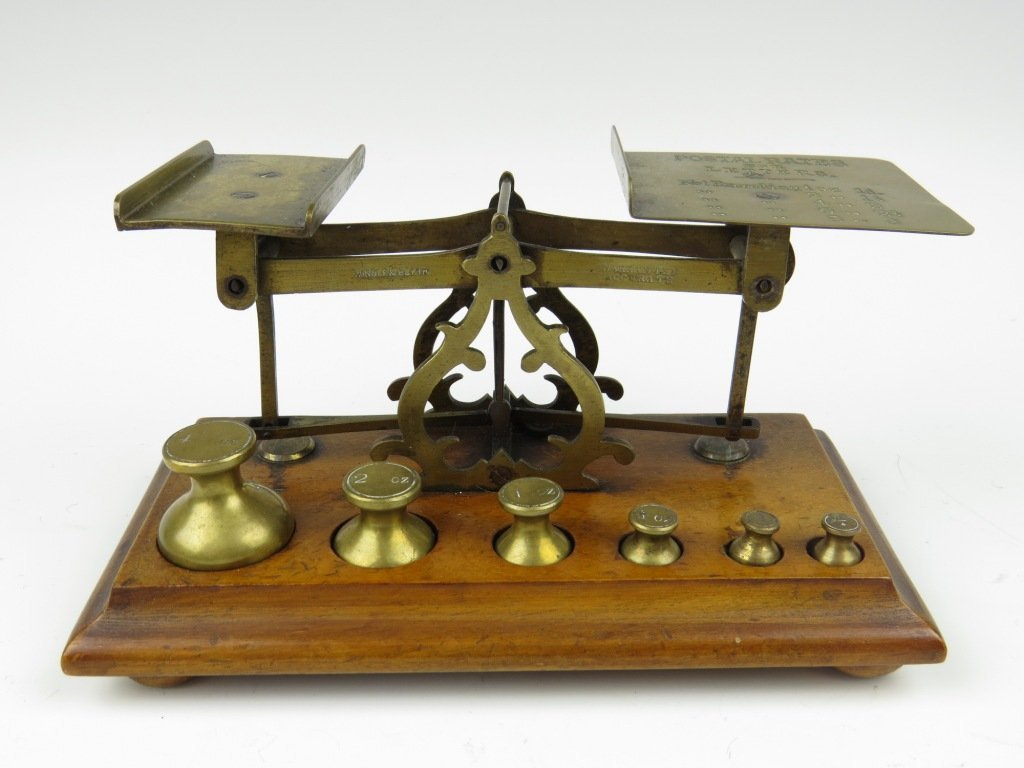 A set of brass postal scales, c.1871-1897, possibly by