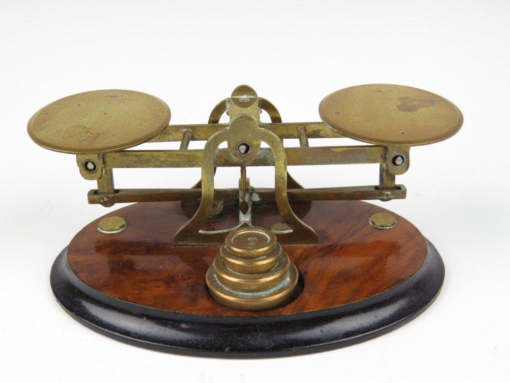 Sampson Mordan & Co.,  a set of brass postal scales, c.