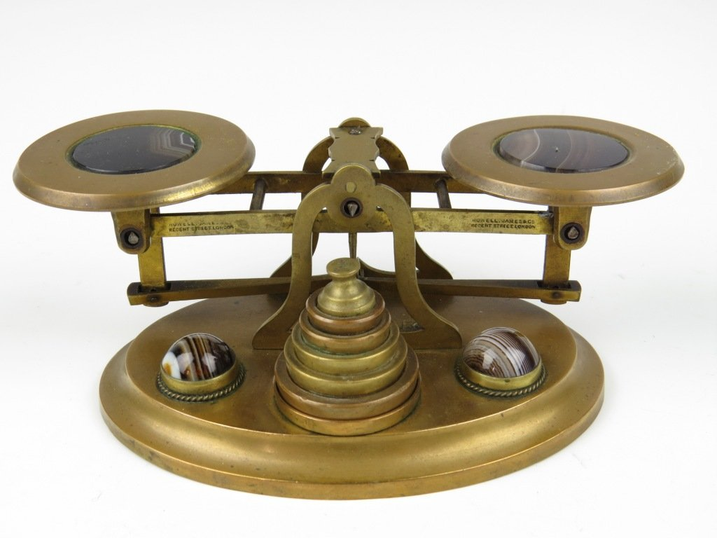 Sampson Mordan & Co.,  a  set of brass letter scales, c
