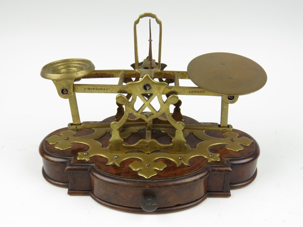Sampson Mordan & Co.,  a rare brass postal scale, c.188