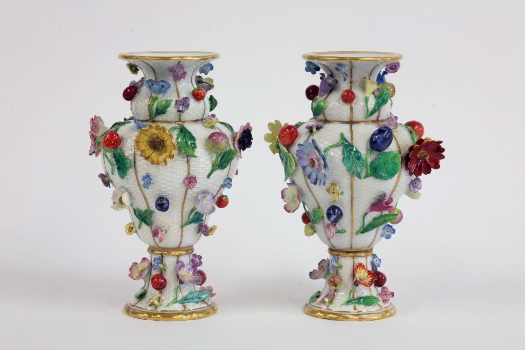 A pair of Meissen Vases, early 20th century, each pear