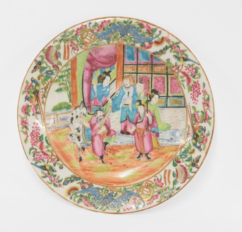 A rare Royal Worcester 'Canton' Plate, 1860s/70s,