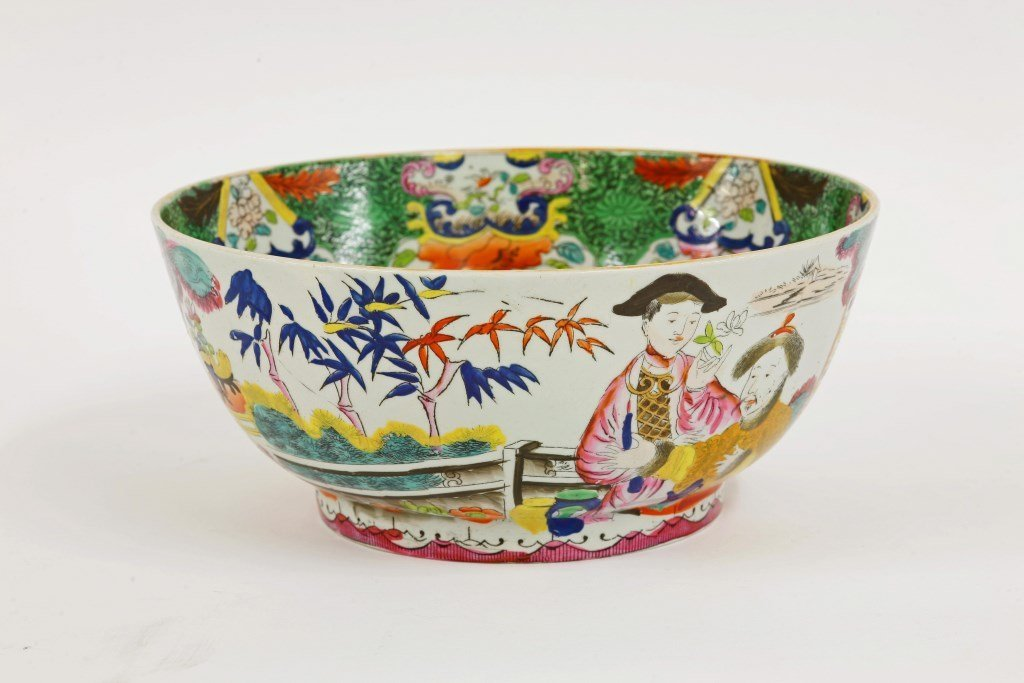 A Mason's Ironstone Punch Bowl, c.1820, printed and