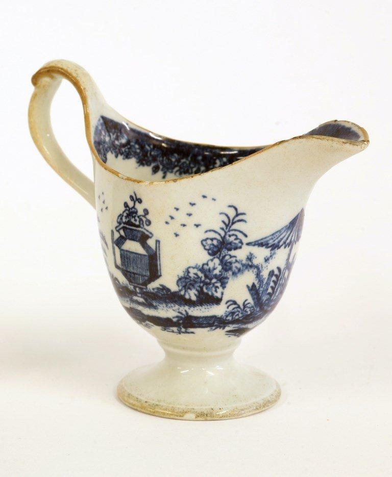 A rare Longton Hall cream jug, c.1775, printed in